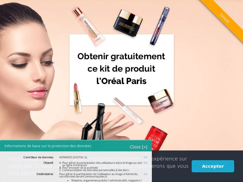 L'Oreal - FR (FR), [CPL], Health and Beauty, Cosmetics, Lotteries and Contests, Single Opt-In, coronavirus, corona, virus, keto, diet, weight, fitness, face mask, paypal, survey, gift, gift card, free, amazon