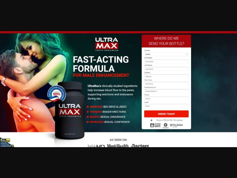 Ultra Max Testo Enhancer - Male Enhancement - SS - [IE]