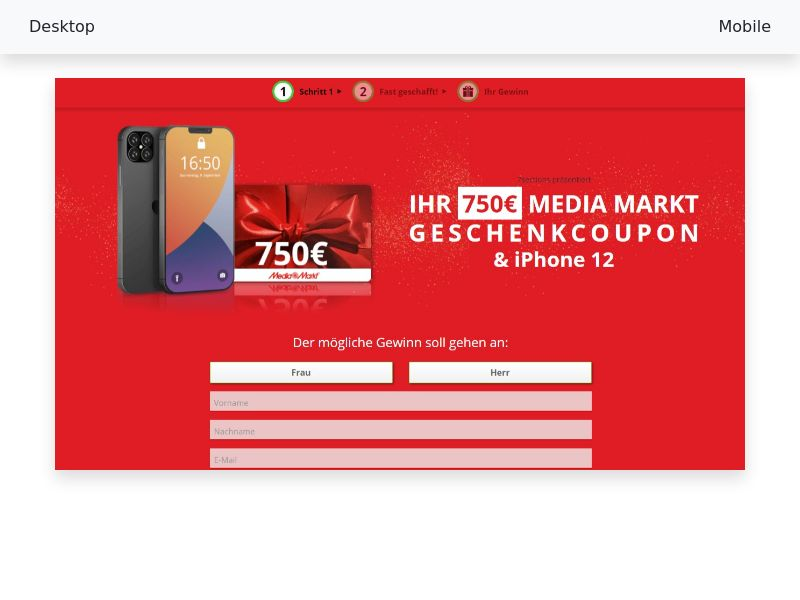 Your € 750 Media Markt gift coupon & iPhone 12 - CPL/SOI - [DE,AT,CH]
