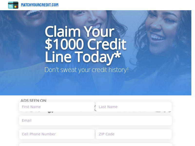 MatchYourCredit.com - $1,000 Credit Line - US - CPL [DIRECT]