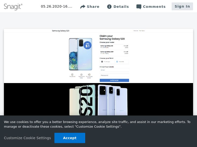 Claim Samsung Galaxy S20 (Choose Color) | CL,AT,CZ