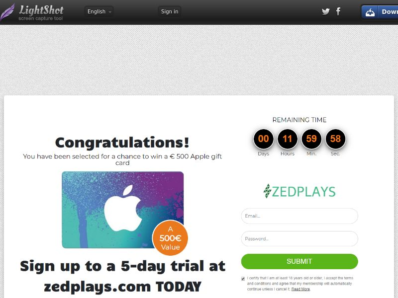 Sugar Beats Win Apple Gift Card (Sweepstake) (CC Trial) - Germany [DE]