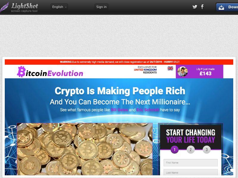 Bitcoin Evolution CPA multigeo - google redirect