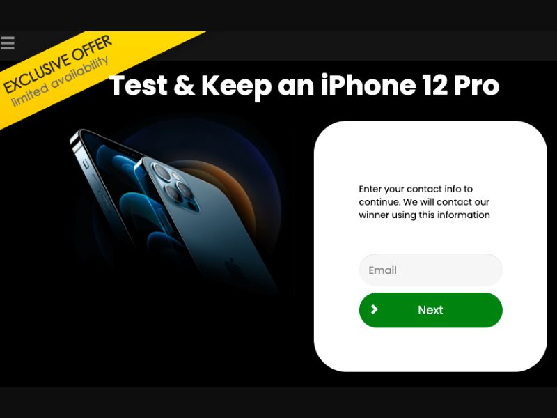 US - Test and Keep - iPhone 12 Pro EXCLUSIVE Prelander [US] - SOI registration