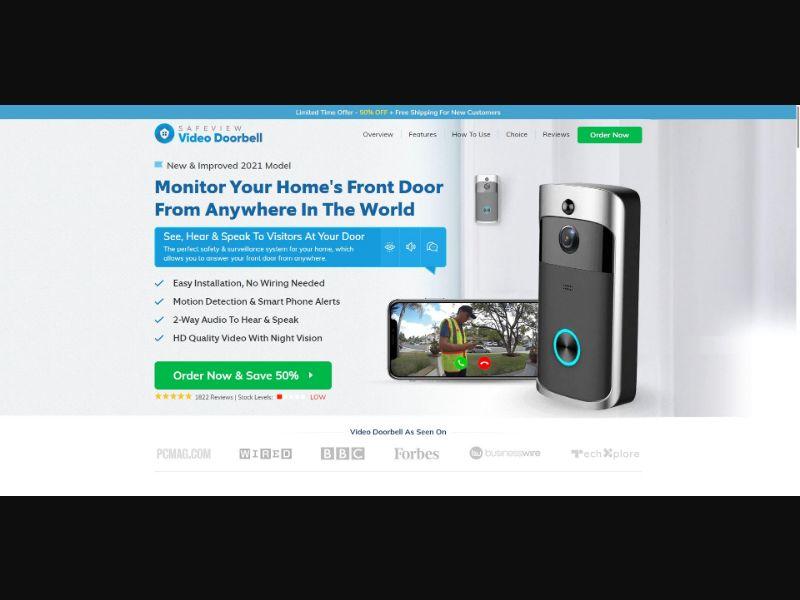 SafeView Video Doorbell - eComm / Gadgets - SS - [US]
