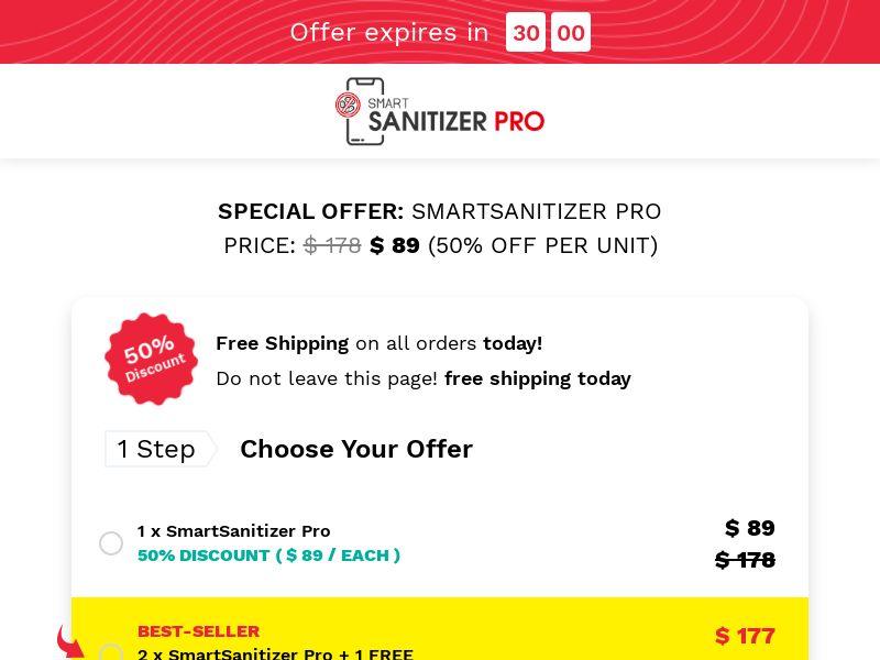 SmartSanitizer - Ultraviolet Smartphone Sanitizer - CPA - [INTERNATIONAL]