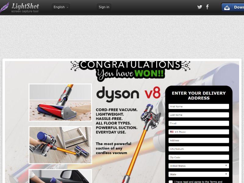 LotsPrizesToday - Dyson Vacuum V8 (Light Grey) (US) (Trial) (Personal Approval)