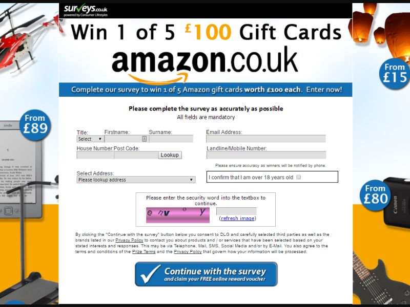 Surveys.co.uk Win 1 of 5 Amazon Gift Cards UK I CPL Incent Permitted