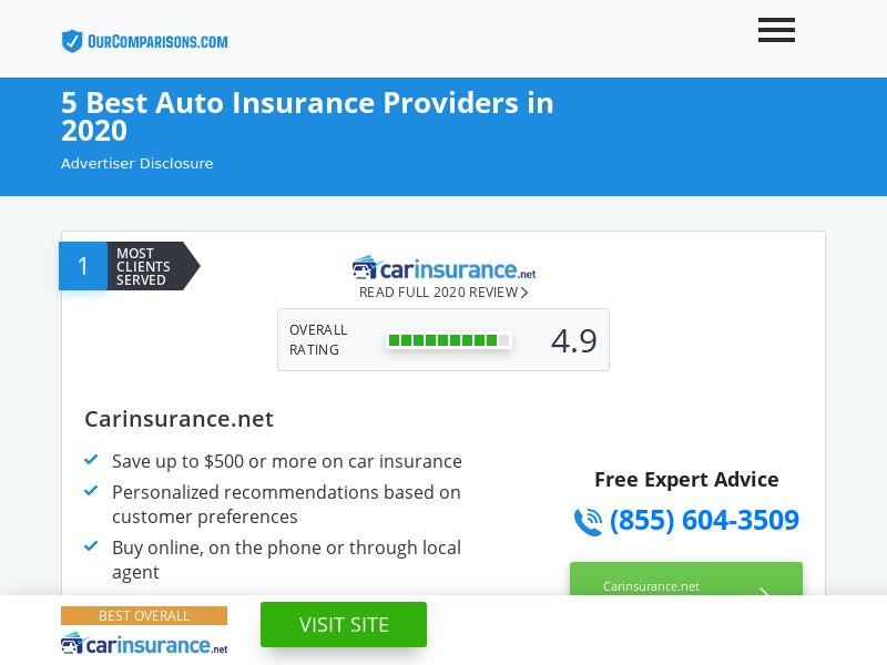 OurComparisons.com 5 Best Auto Insurance Providers [US]|PPL|Responsive