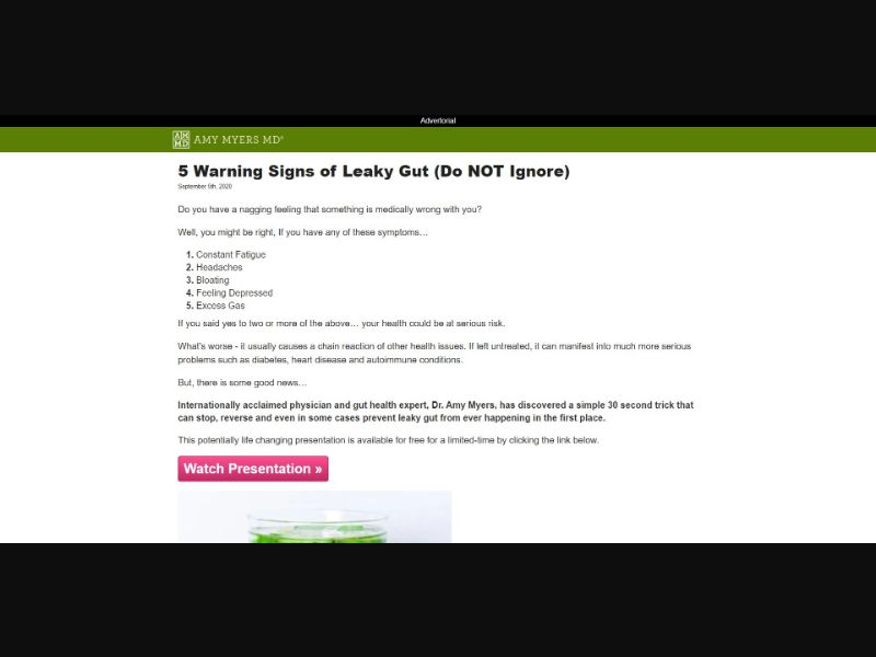 Amy Myers MD Leaky Gut Revive - V1 - Presell Page - PayPal Accepted - Health - SS - [GEOs with exceptions]