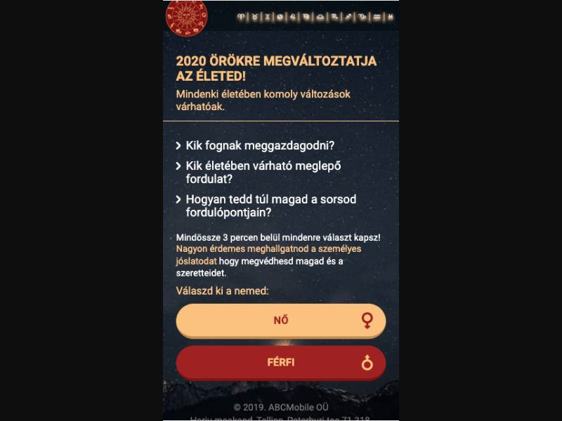 Horoscope 2020 - Click 2 Call - HU - Astrology - Mobile