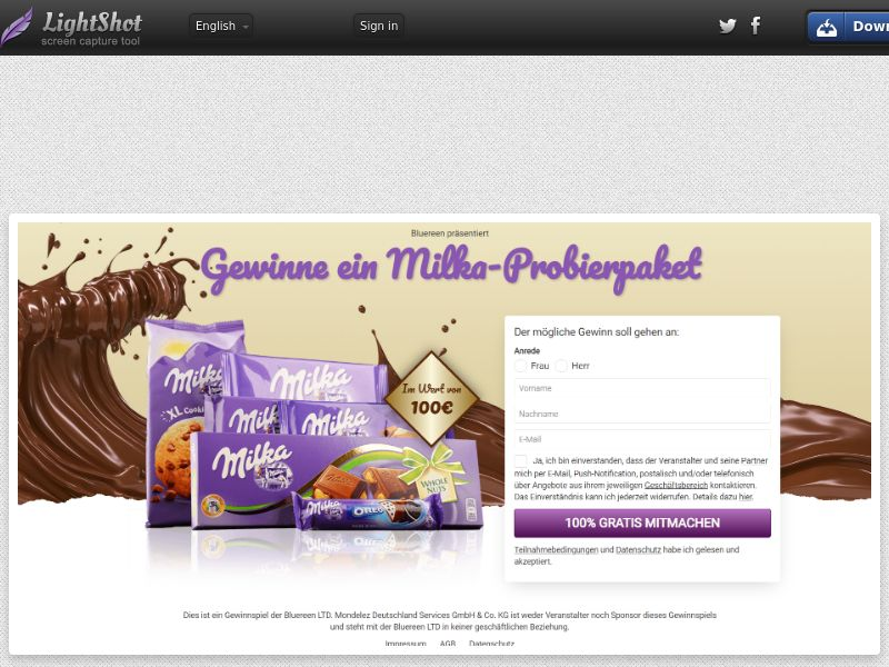 7Sections - Milka €100 Giftcard (DE, AT, CH) (CPL) (Personal Approval)