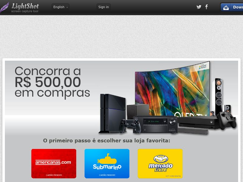 Page Online Shops (Sweepstake) (SOI) - Brazil