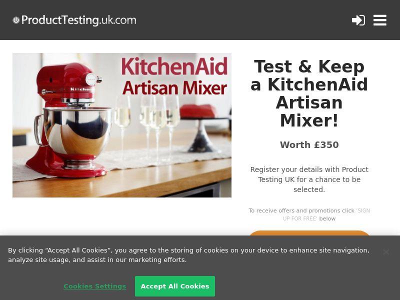 Product Testing - Test & Keep a KitchenAid Artisan Mixer CPL [UK]