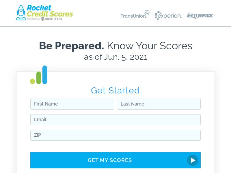 Rocket Credit Scores - $1 - 7 Day Trial