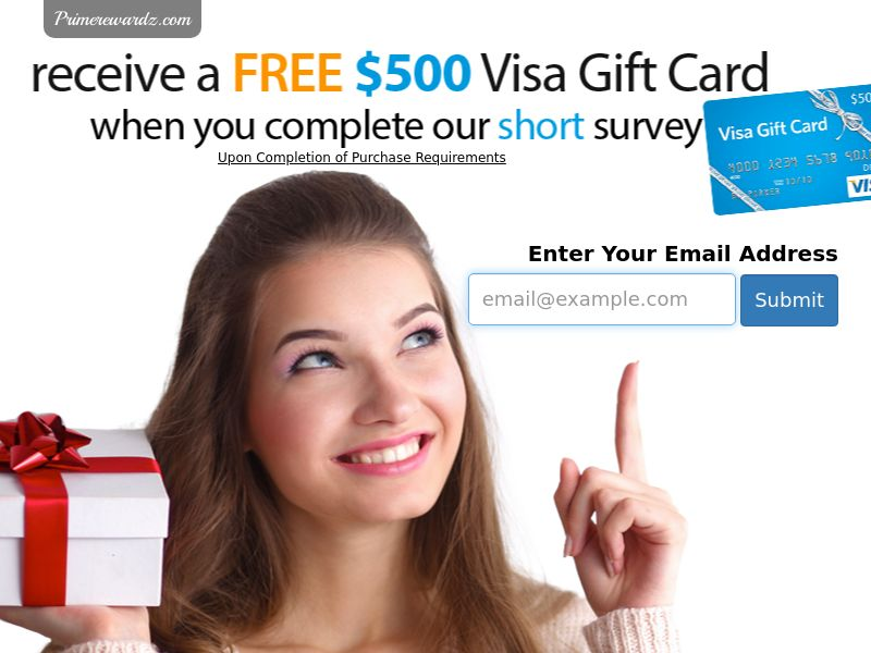 $500 Visa Gift Card - Email Submit