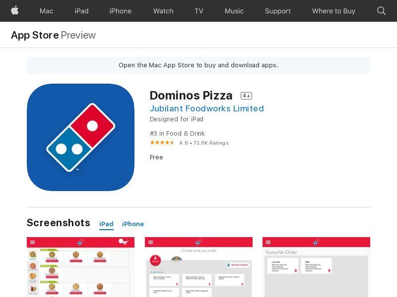 Dominos - IN - iOS CPO=ORDER/ devilery