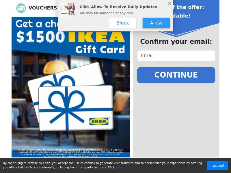 US - Vouchers Avenue - $1500 IKEA Gift Card