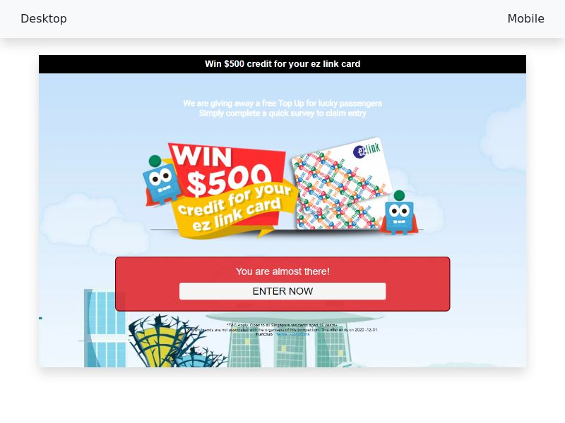 Win $500 credit for your ez link card - CPL/SOI - [SG]