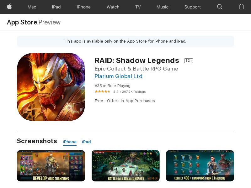 Raid Shadow - iOS (US) (CPE) (In-app traffic) (Incent) (Personal Approval)