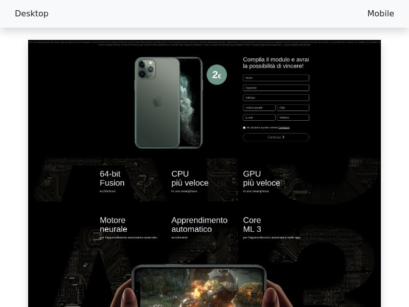 Sweepstake Win iPhone 11 Pro CPL - CC-submit - [IT]