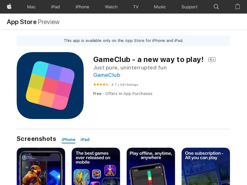 GameClub - a new way to play! - iOS - CA