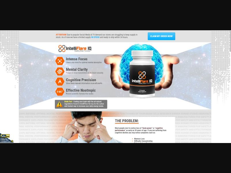 IntelliFlare IQ - Brain Enhancement - Trial - NO SEO - [MY] - with 1-Click Upsell [Step1 $15.6 / Upsell $16.25]