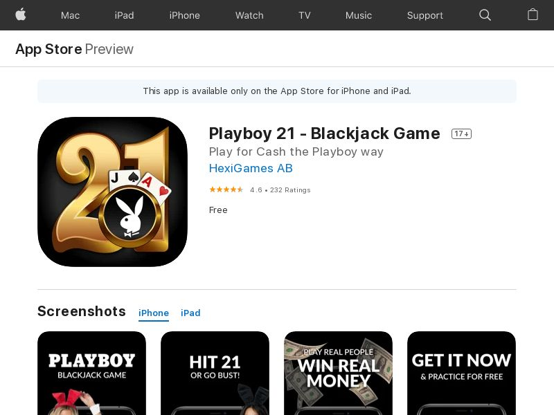 Playboy 21: Blackjack Game - iOS (US) (CPA) (Incent) (Personal Approval)