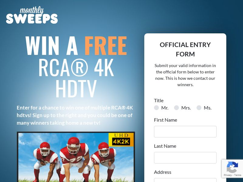 RCA 4K HDTV [SWEEPSTAKES] - CPL - 1st Page Submit - US