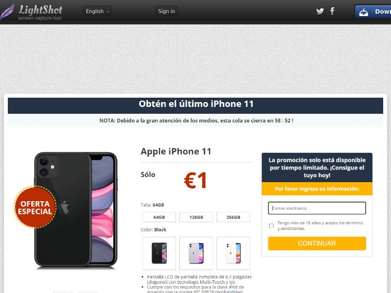 GetRealDeal Cport iPhone 11 Amazon (Sweepstake) (CC Trial) - Spain [ES]