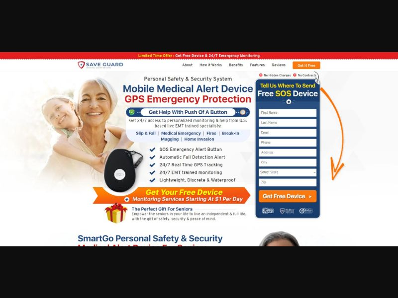 Save Guard Medical Alert Device - V1 - Health - SS - [US]