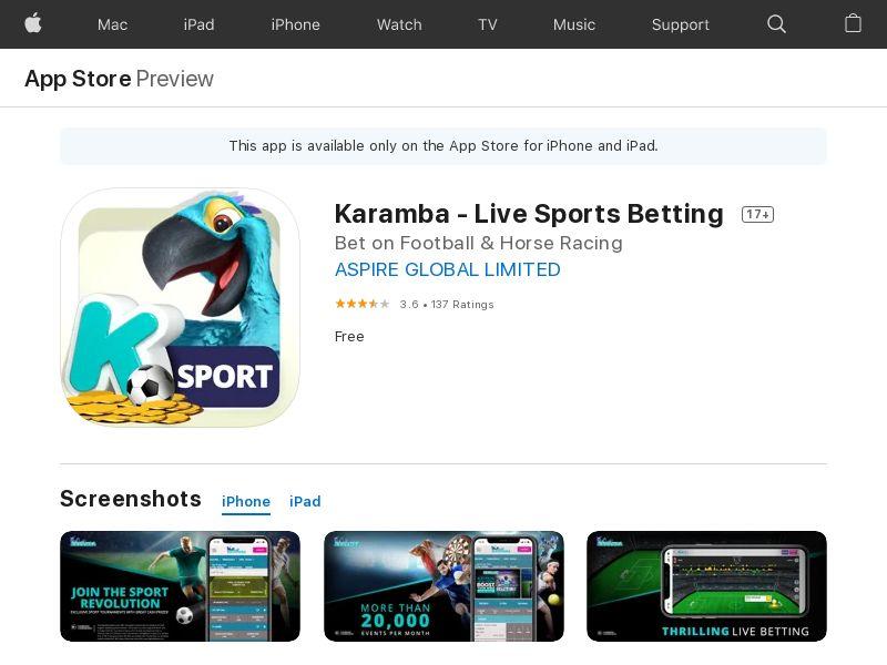 Karamba Sports - iOS (UK) (CPA) (Personal Approval)