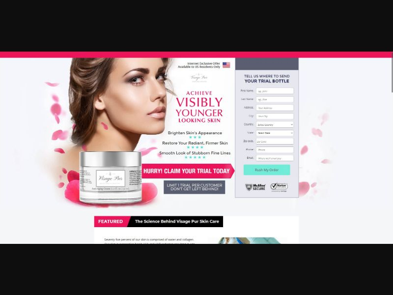 Visage Pur Anti Aging Cream - Skin Care - Trial - [US, No California] - with 1-Click Upsell [Step1 $27.20 / Upsell $27.20]