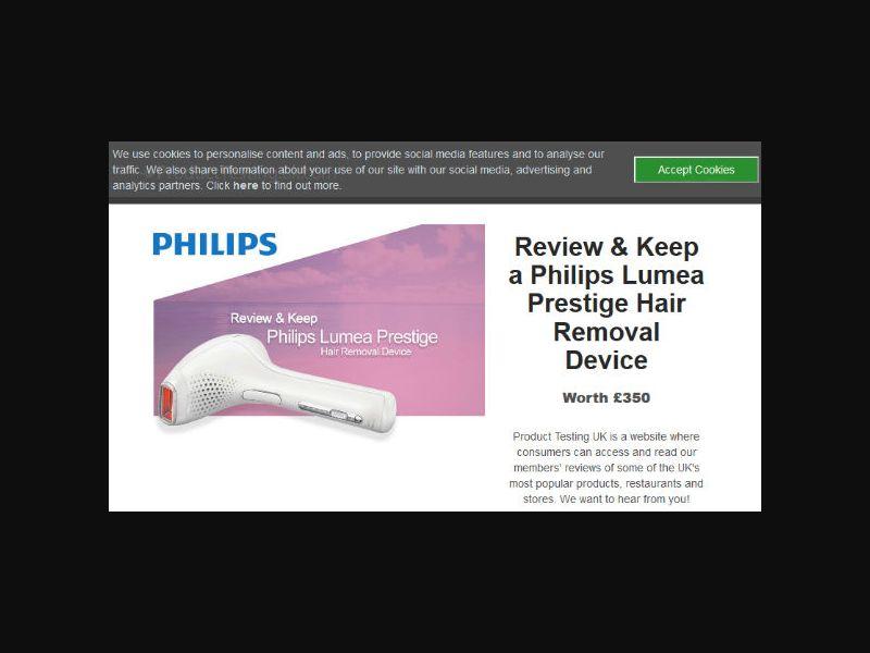 Product Testing - Lumea Prestige Hair Removal Device (UK)