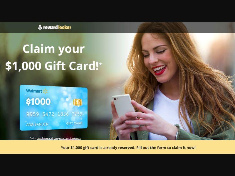 US - Reward Locker - Walmart Gift Card Prelander [US] - SOI registration