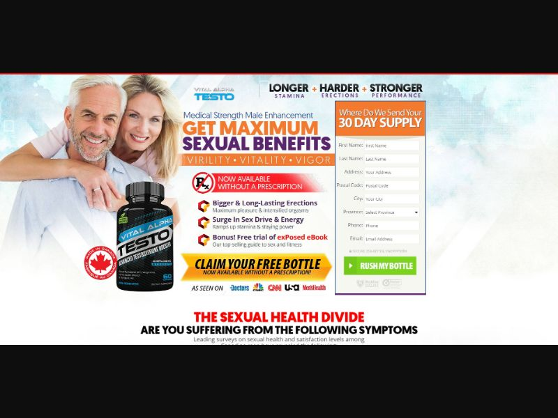Vital Alpha Testo - Male Enhancement - Trial - [CA] - with 1-Click Upsell [Step1 $35.70 / Upsell $32.30]