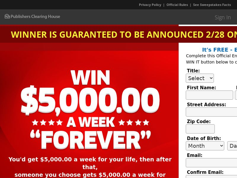 Publishers Clearing House (PCH) TV Red / $5,000 A Week For Life