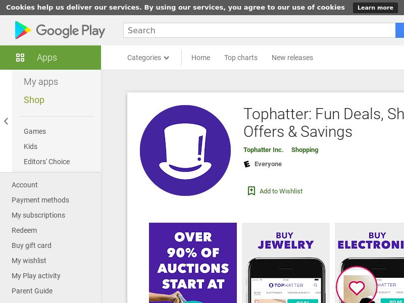 Tophatter: Win Fun Discounts - US, UK, FR, ES, DE - Android - CPE - converts on first purchase