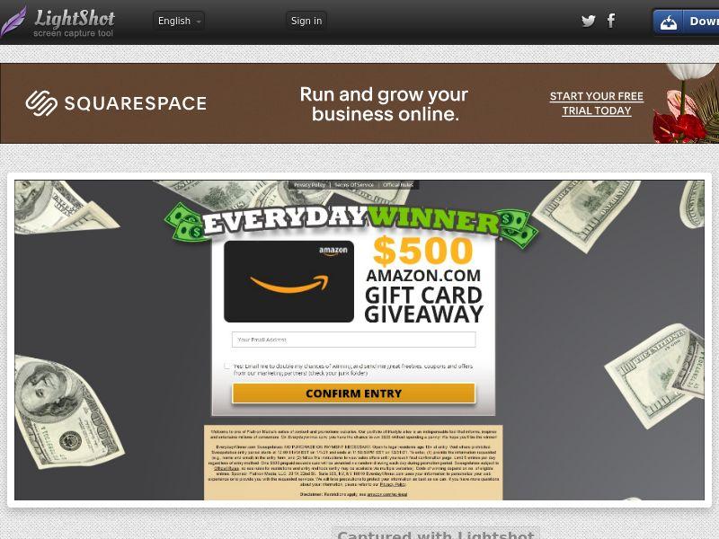 EverydayWinner - Chance to win $500 to Amazon!