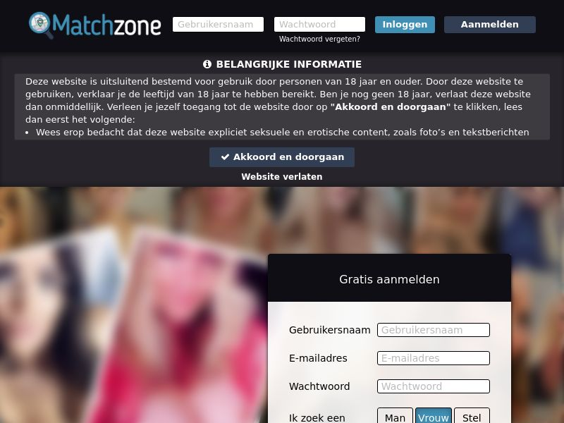 Matchzone - NL, BE (BE,NL), [CPL], For Adult, Dating, Content +18, Double Opt-In, Email Submit, women, date, sex, sexy, tinder, flirt