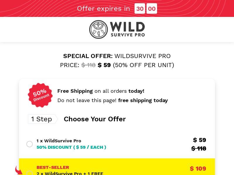 Wild Survive Pro - Outdoor Survival Kit - CPA - [INTERNATIONAL]