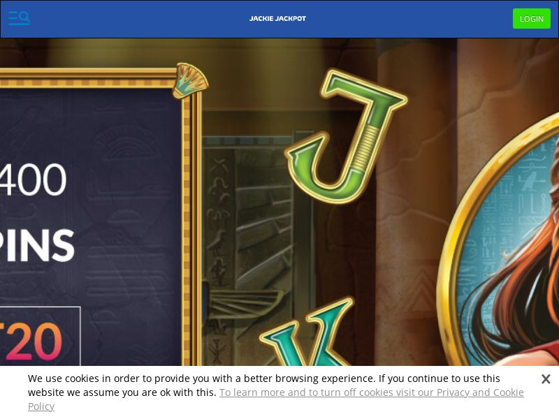 Jackie Jackpot Casino - Exclusive offer DEPOSIT20 - CPA | NZ, IE, SLO