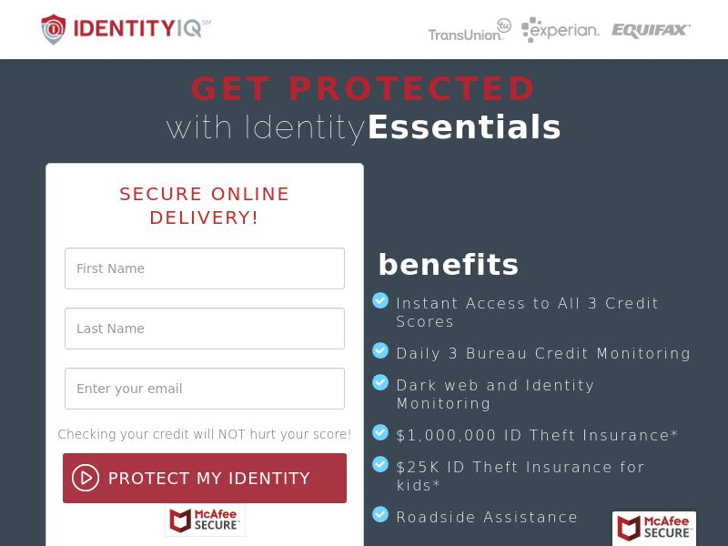 Identity IQ Identity Essentials - $1 Trial (*Private Offer*) - US <<*PENDING*PRIVATE OFFER*>>