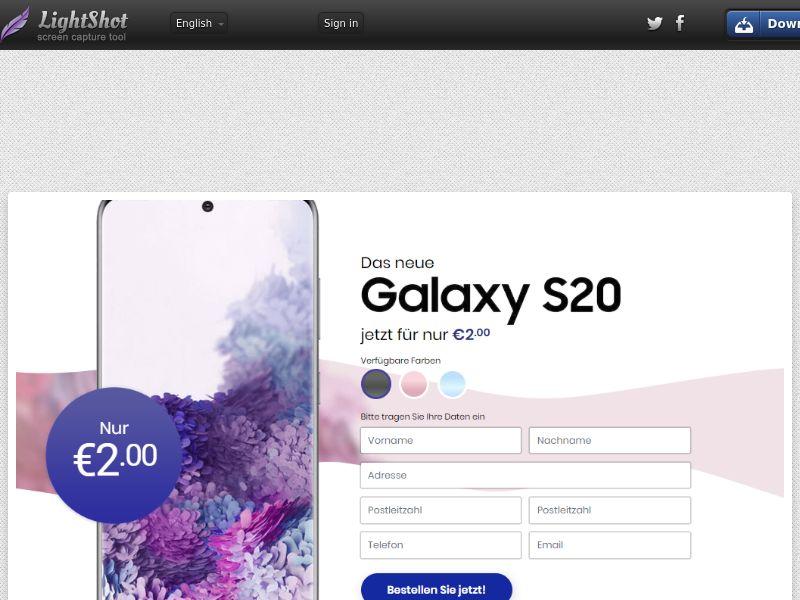 winlotsofthings Samsung Galaxy S20 (Sweepstake) (CC Trial) - Germany