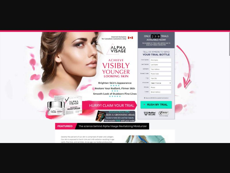 Alpha Visage Revitalizing Moisturizer - Skin Care - SS - [CA] - with 1-Click Upsell [Step1 $38.25 / Upsell $38.25]