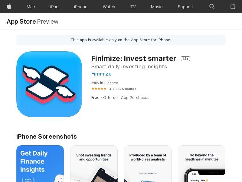 Finimize iOS UK CPE- free trial