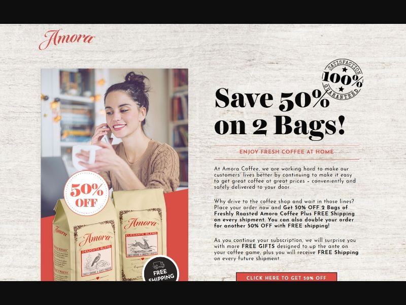 Amora Coffee - 50% off 2 Bags US | CC Submit