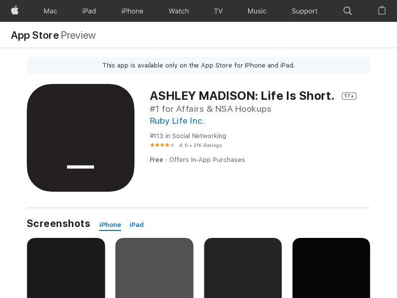 Ashley Madison - iOS - BR, SG, BE, ZA - CPE = subscription
