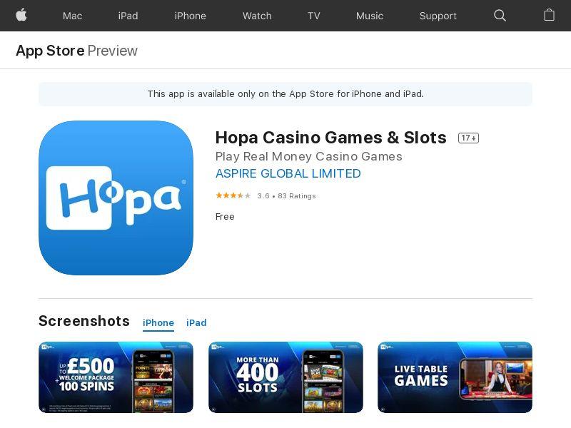 Hopa Casino_ IE DE FI CA QA BH OM LU _ iOS (manual) (FTD=deposit >=10eur)