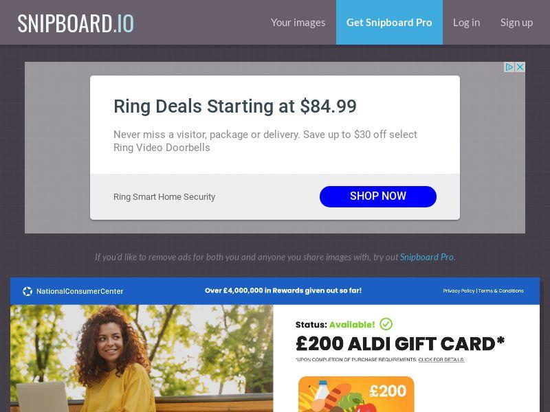 YouSweeps - £200 Aldi Giftcard UK - SOI